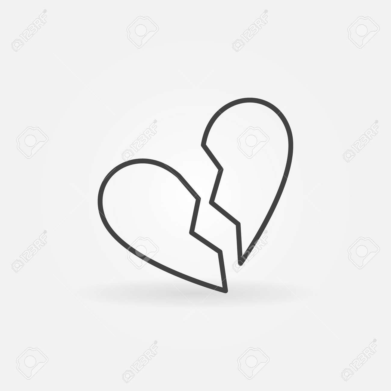 Broken heart linear icon simple divorce symbol minimal end broken heart linear icon simple divorce symbol minimal end of love sign in thin buycottarizona