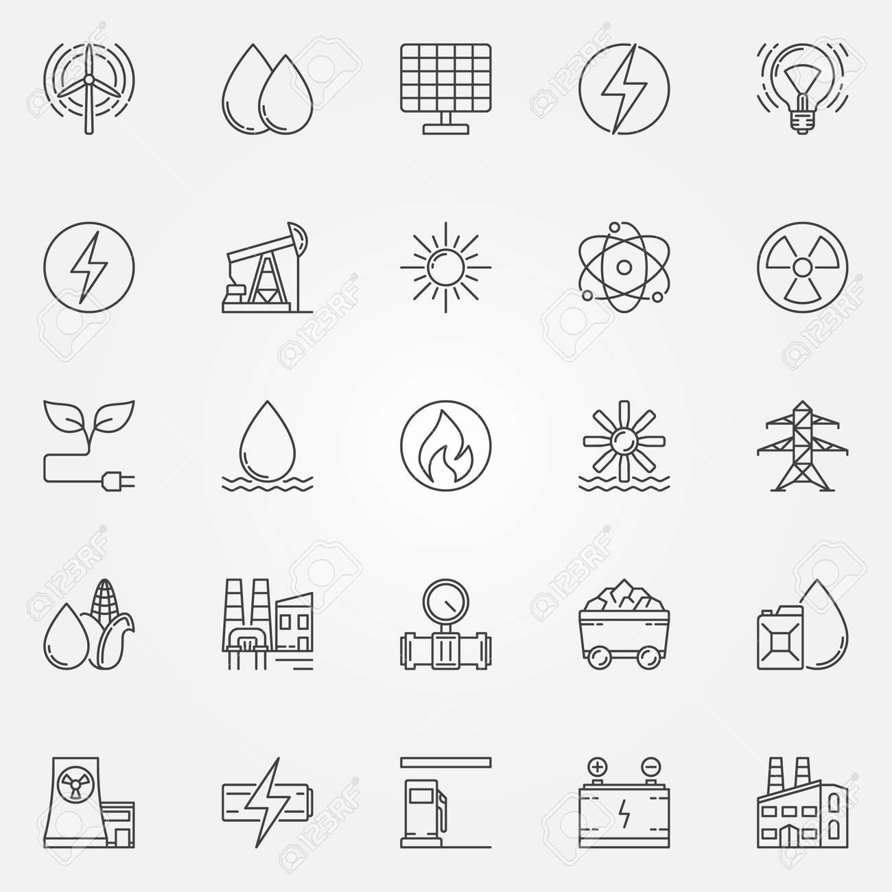 Energy Icons Set Vector Linear Energy And Power Symbol Or Logo