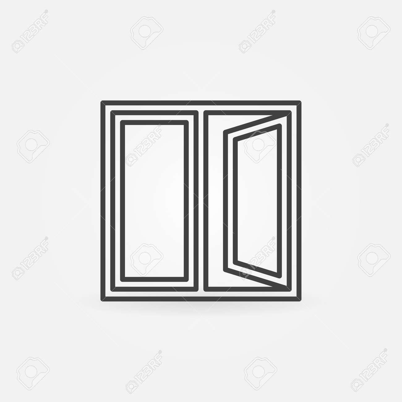 Offenes fenster von außen  Fenster Umriss-Symbol. Vector Offenes Fenster Zeichen Oder ...
