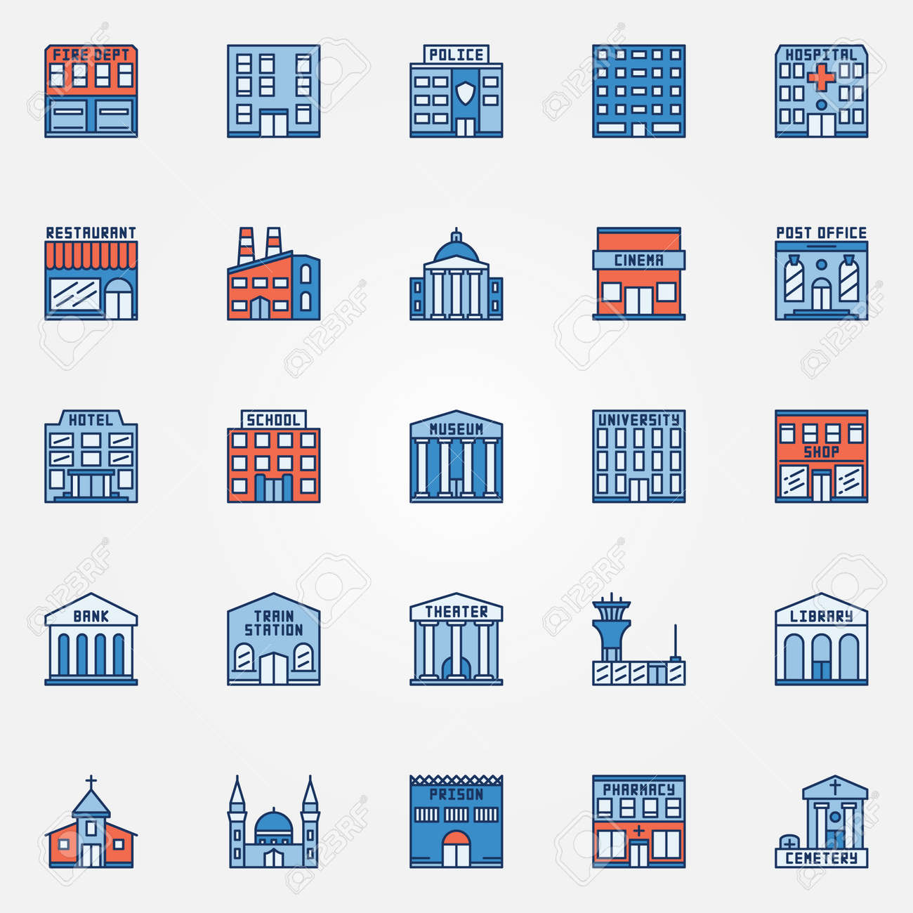 Colorful building icons set vector flat government buildings colorful building icons set vector flat government buildings symbol hospital fire dept biocorpaavc