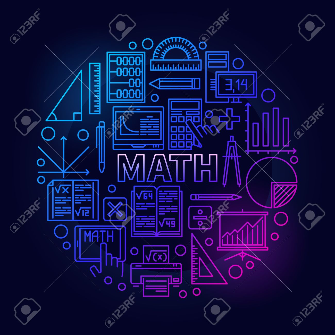Math round bright symbol vector colorful mathematics school math round bright symbol vector colorful mathematics school subject bright sign in thin line style biocorpaavc Image collections