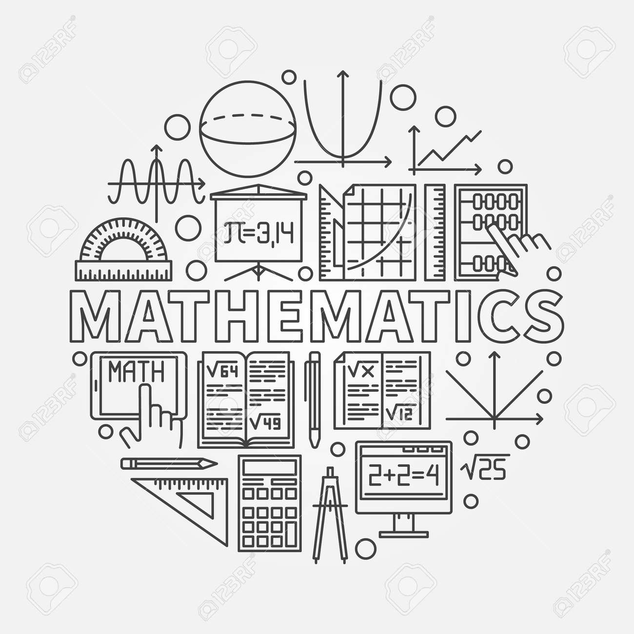 Mathematics round illustration vector math or algebra symbol vector math or algebra symbol made with thin line mathematical icons stock biocorpaavc Choice Image