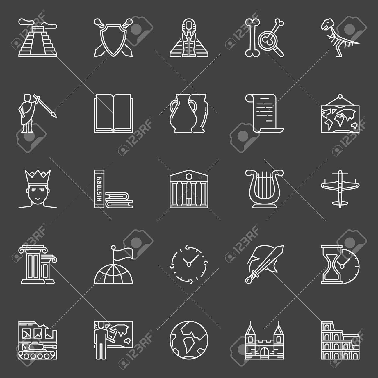 History Linear Icons Vector Set Of Outline Ancient Times Symbols