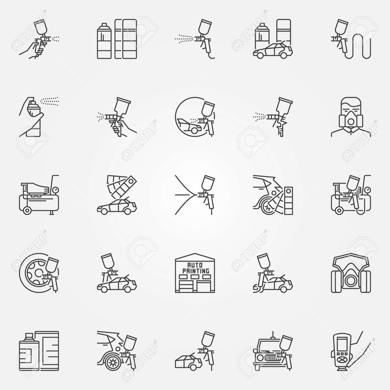Car painting icons set vector linear car paint symbols auto vector linear car paint symbols auto painting with spay gun biocorpaavc Images
