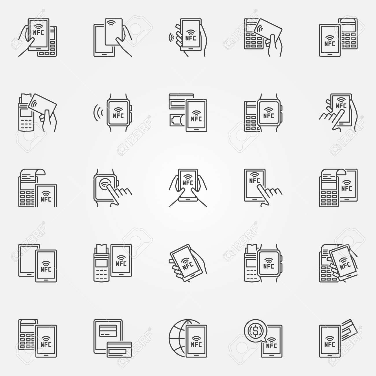 NFC payment icons. Vector collection of smartphone and card NFC paying with POS terminal signs in thin line style - 67579646