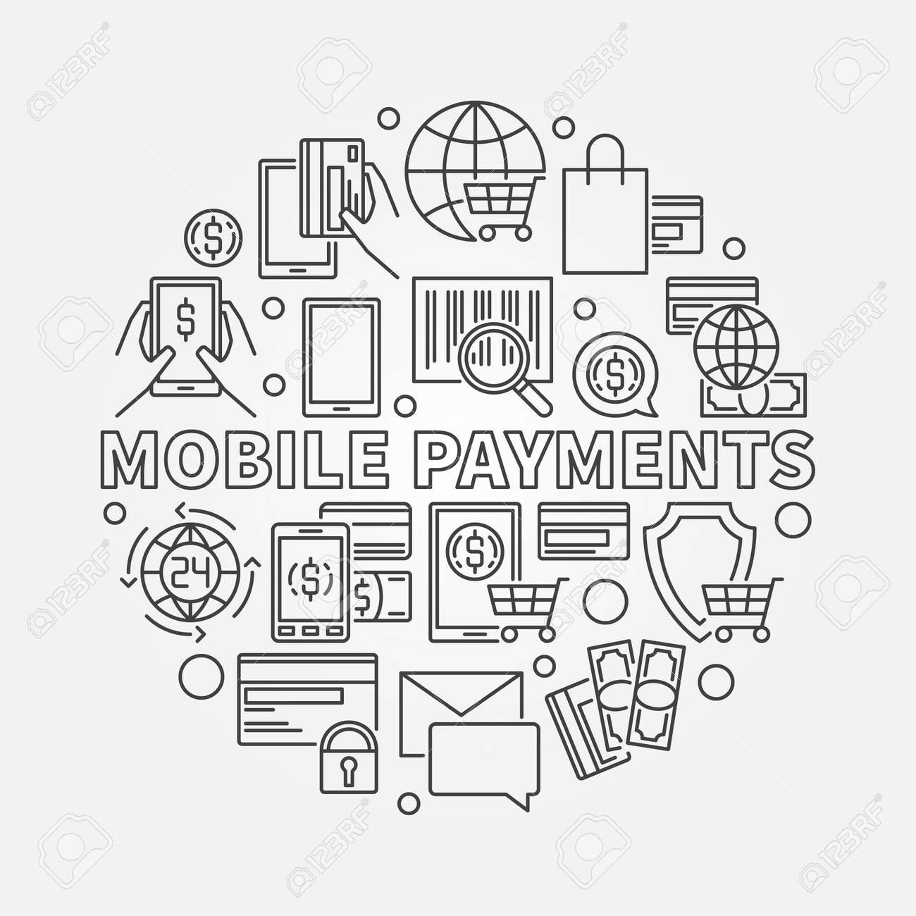 Mobile Payments Circular Line Sign. Vector Round Smartphone Money ...