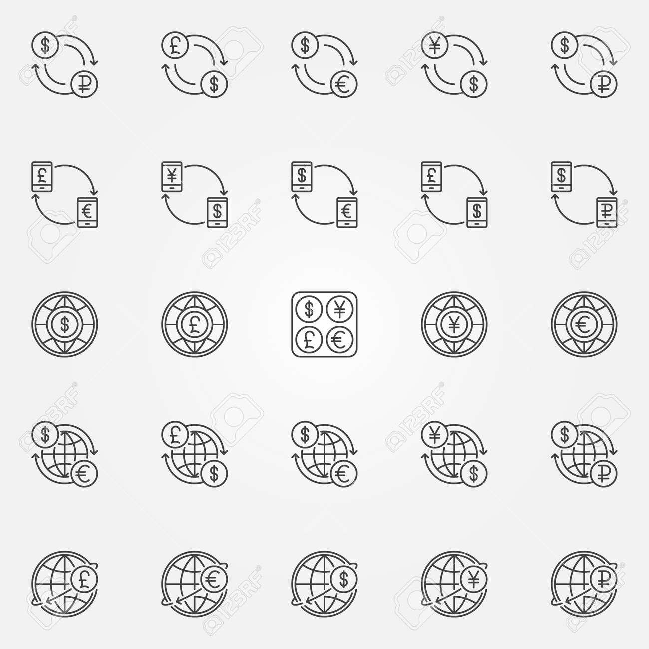 Icones De Change Symboles De Vecteur Monnaie Dollar Euro Rouble Livre Et Yen Dans Le Style De Ligne Mince