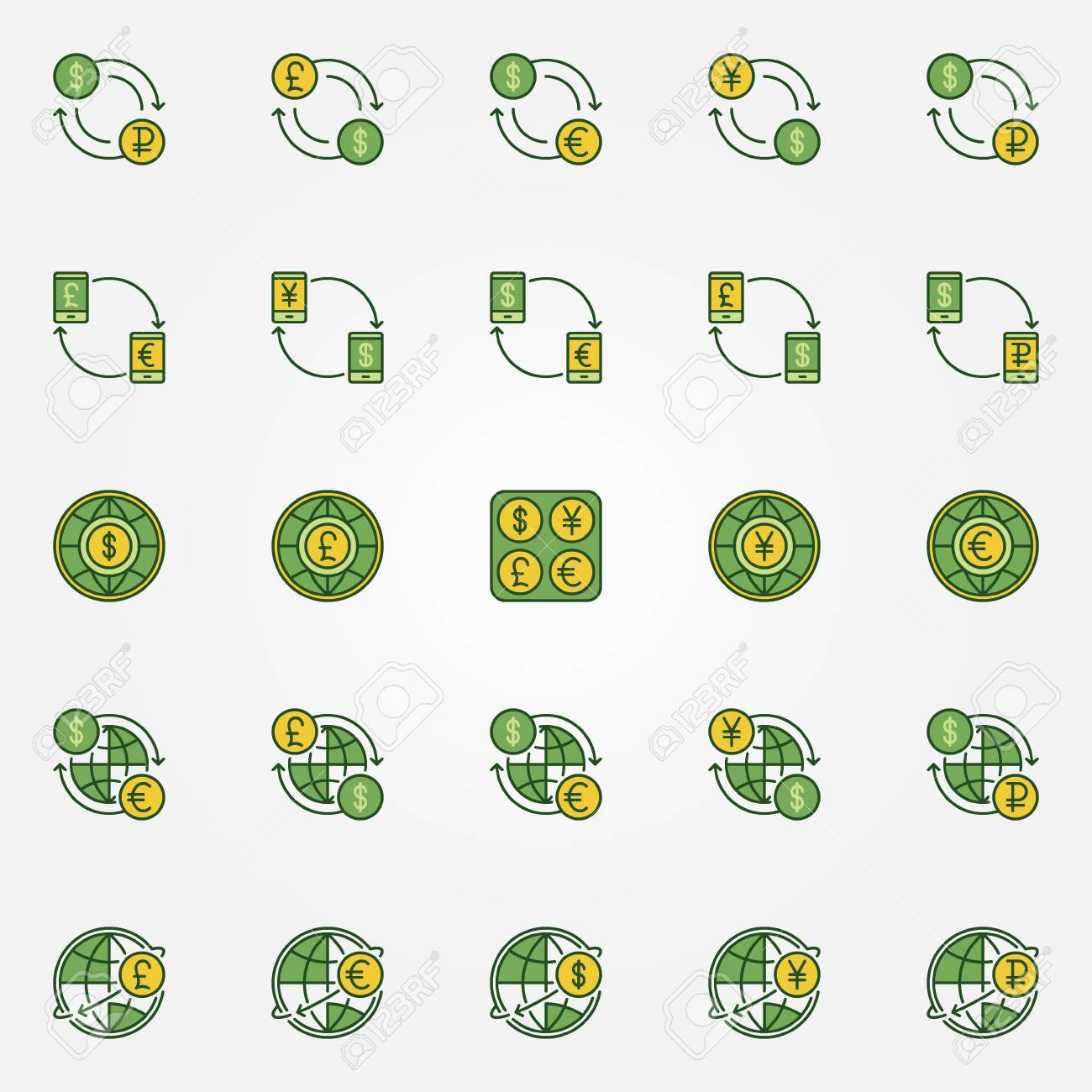 Colorful Currency Exchange Icons Vector Dollar Euro Ruble Pound