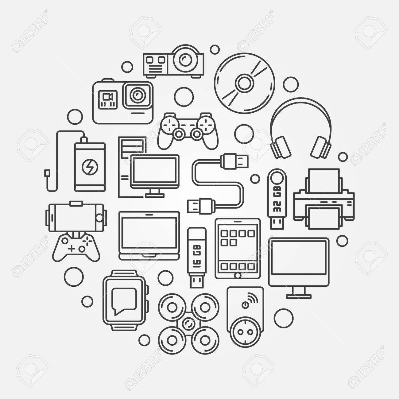 Gadgets And Devices Round Illustration Vector Linear Symbol