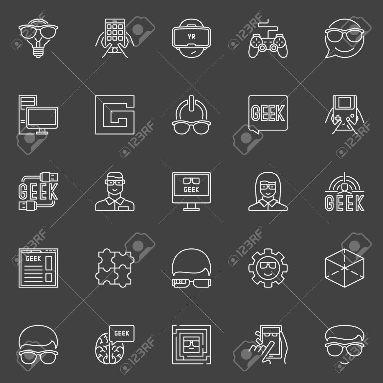 Geek Line Vector Icons Collection Of Faces With Glasses Outline