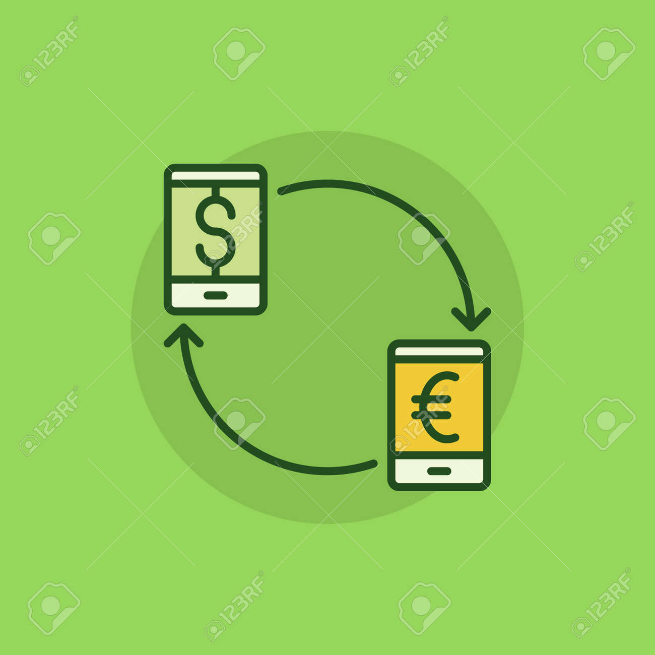 Smartphone currency converter colorful icon eur to usd convert smartphone currency converter colorful icon eur to usd convert concept flat symbol stock vector biocorpaavc Gallery