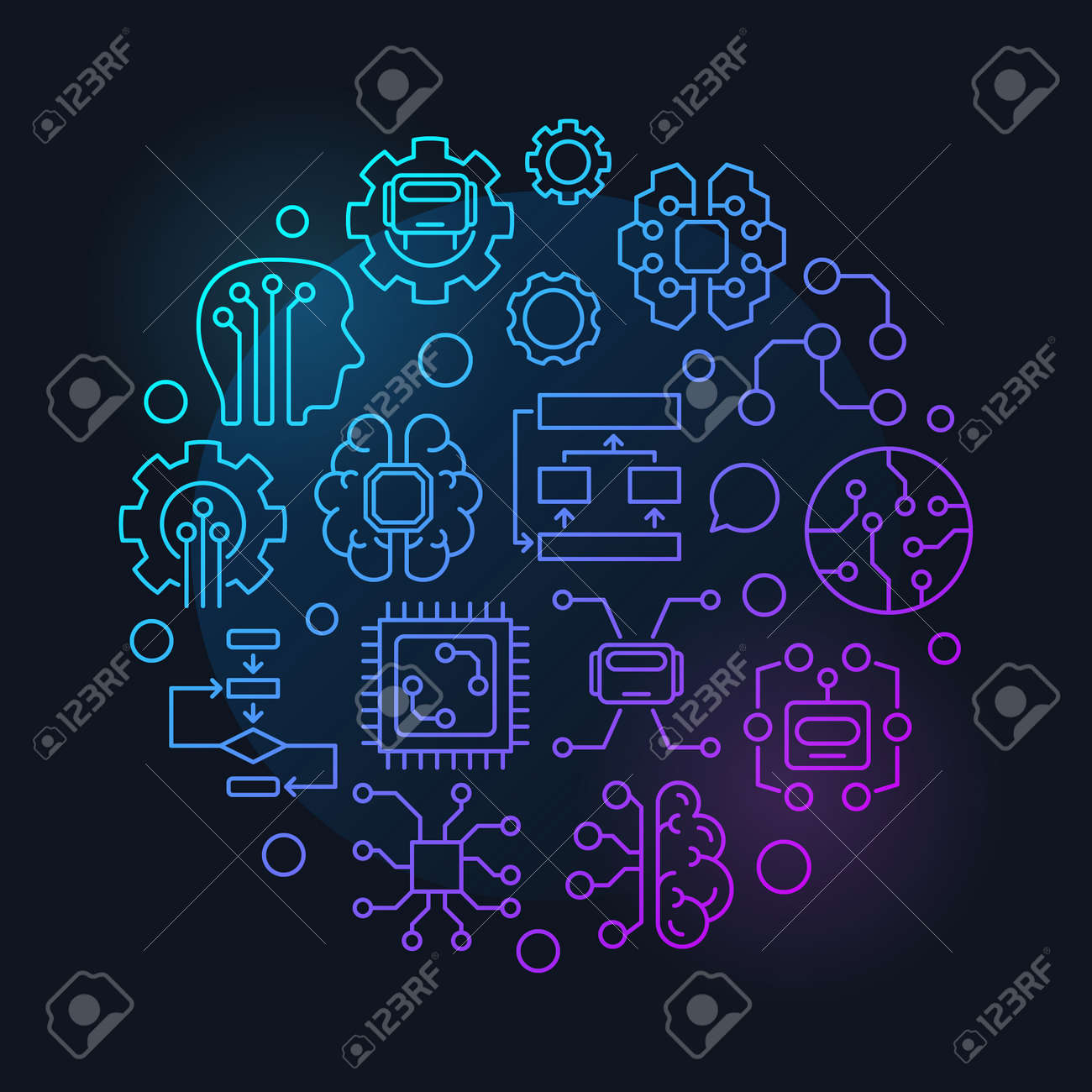 Artificial intelligence round vector colorful linear illustration or sign on dark background - 87887609