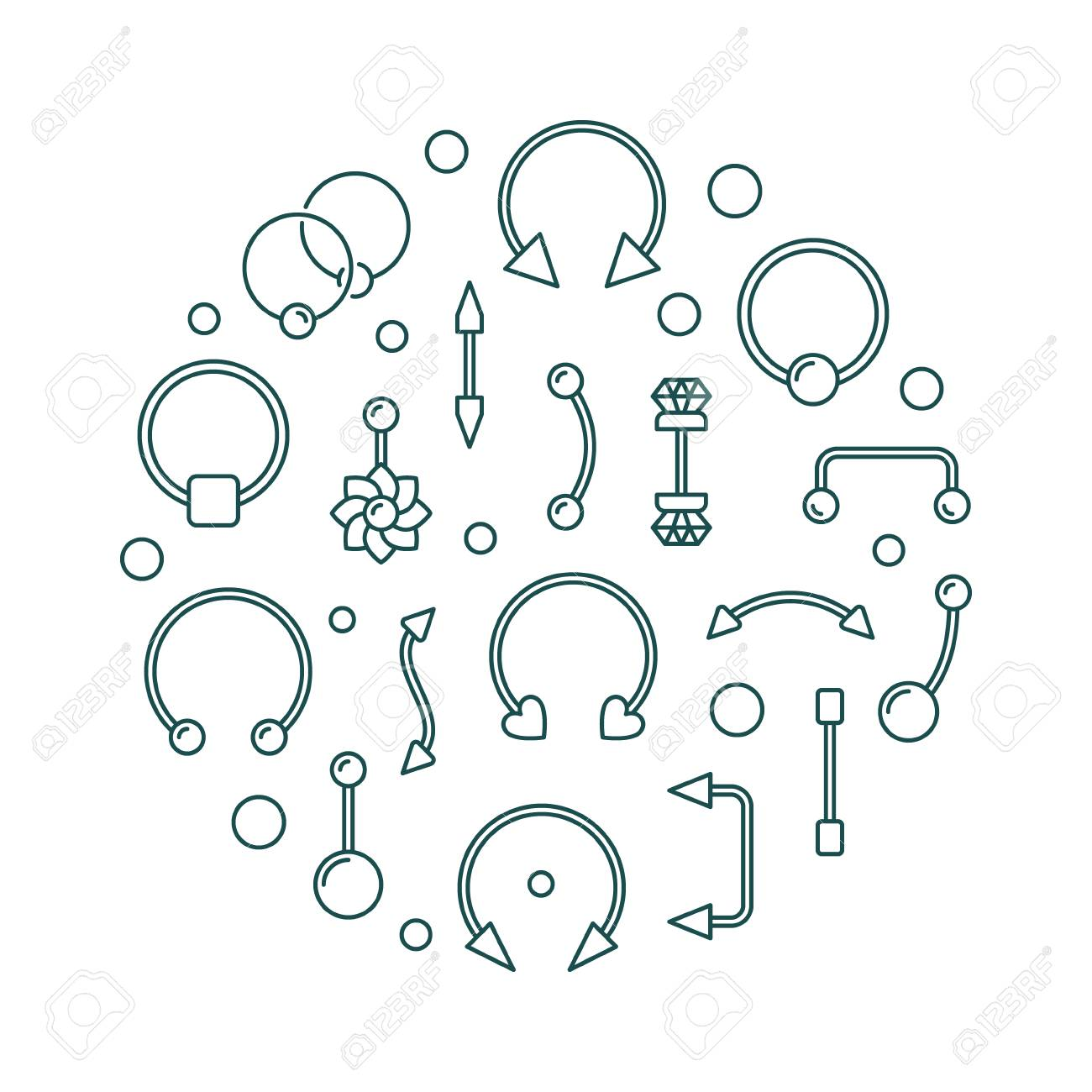 Body Piercing Vector Illustration Made Of Body Jewelry Icons Royalty Free Cliparts Vectors And Stock Illustration Image 100913740
