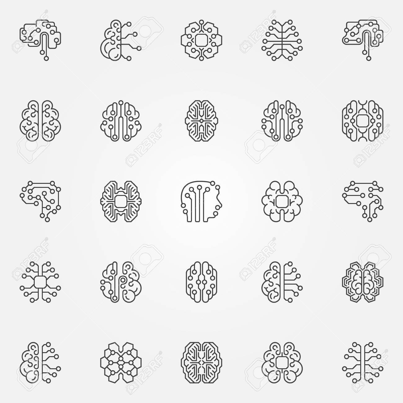 Digital Brain outline icons set. Cyberbrain vector line symbols - 108667270