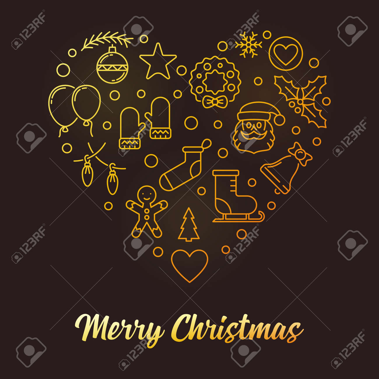 Christmas Heart Vector.Merry Christmas Heart Vector Golden Xmas Illustration In Outline