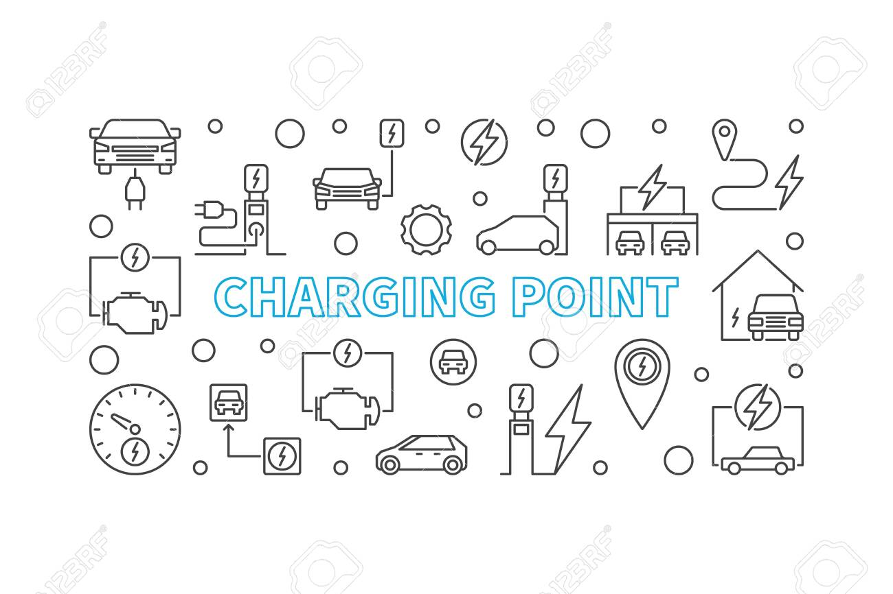 Charging point illustration. Vector EV charge point banner - 119089545
