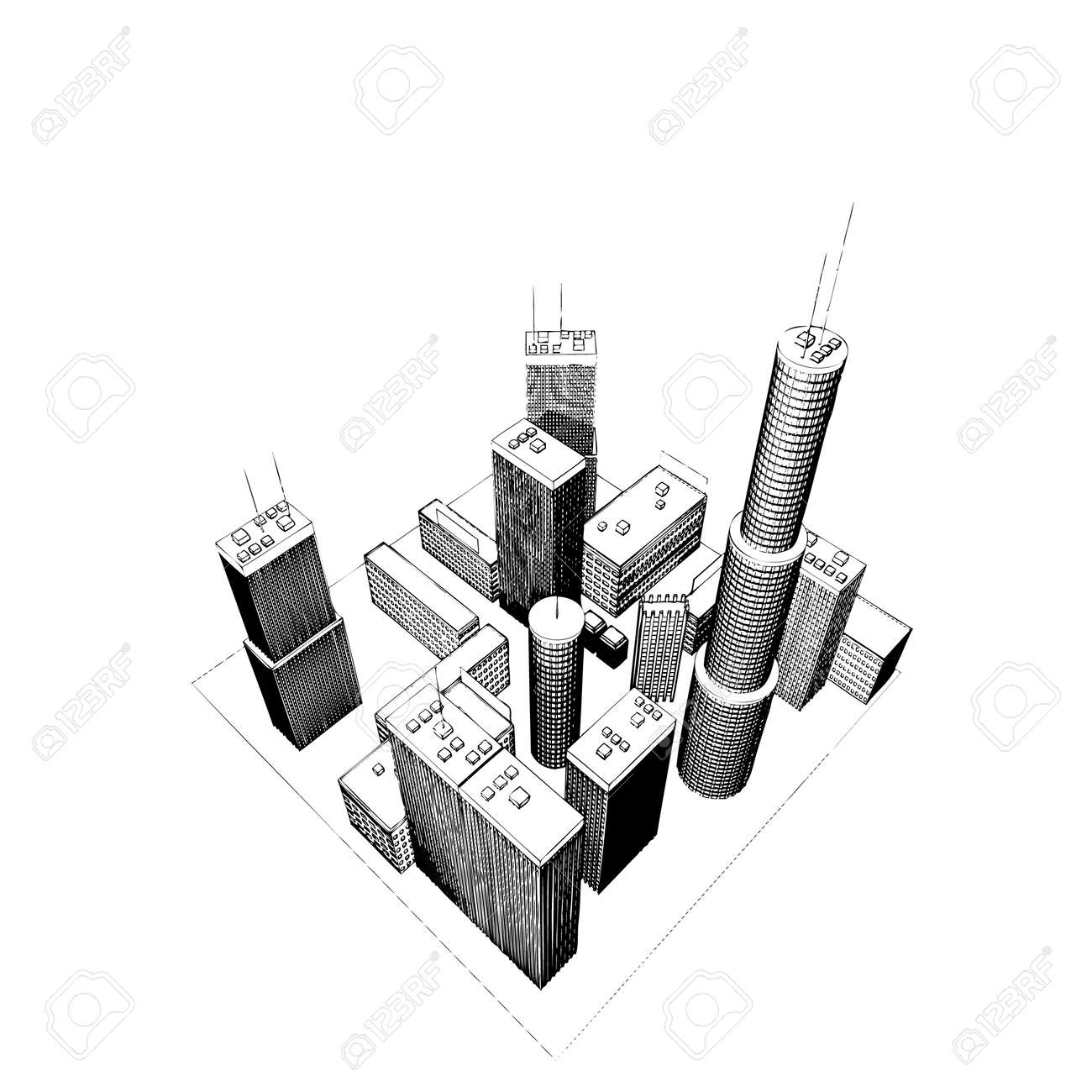 isolated big skyscrapers on white background #1 (vector illustration) Stock Vector - 1697115
