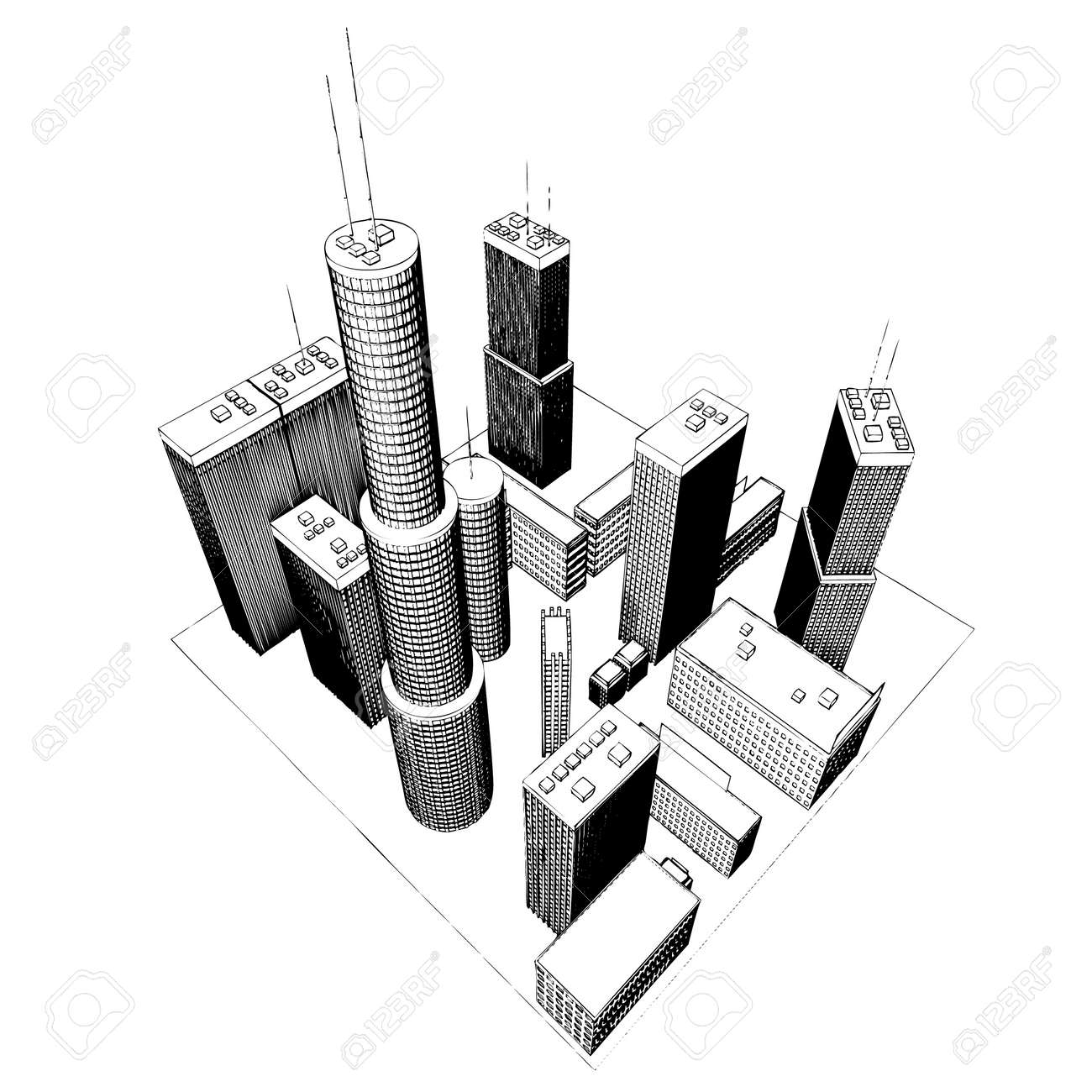 isolated big skyscrapers on white background #4 (vector illustration) Stock Vector - 1697113