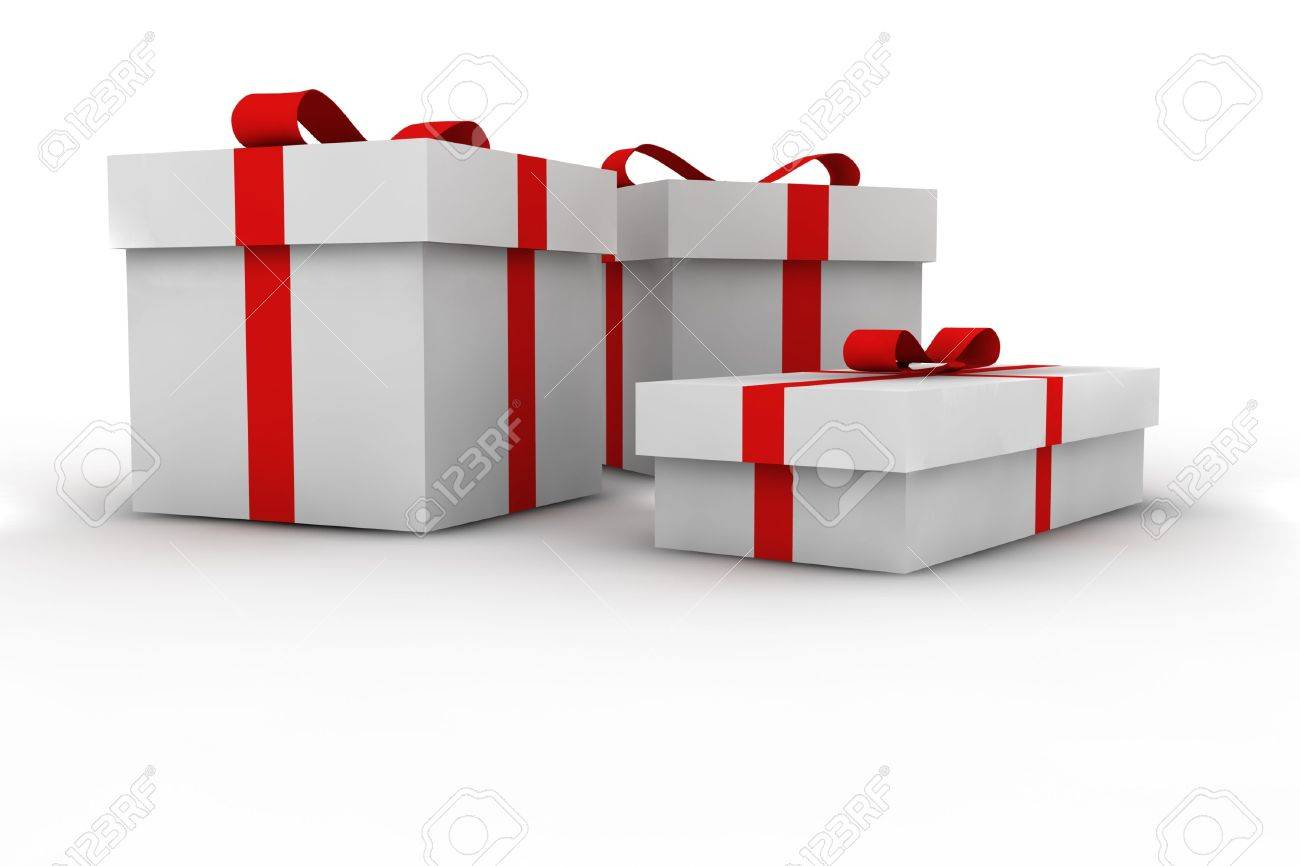 gift boxes - 3d isolated illustration Stock Photo - 2104447