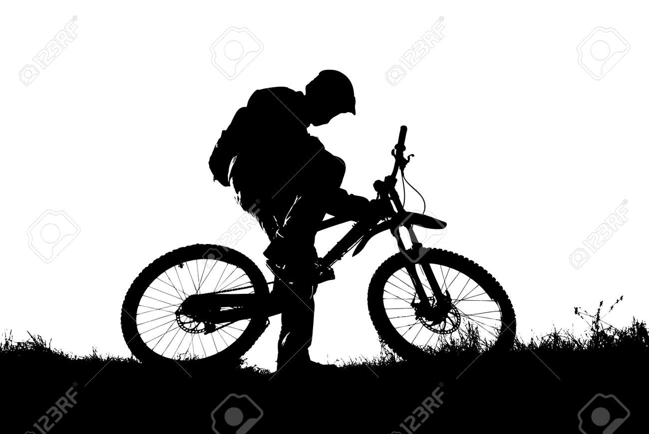 mountain biker silhouette vector illustration stock vector 3001424