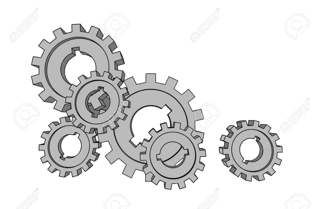 vector cogwheels - business network - isolated illustration Stock Vector - 3279615