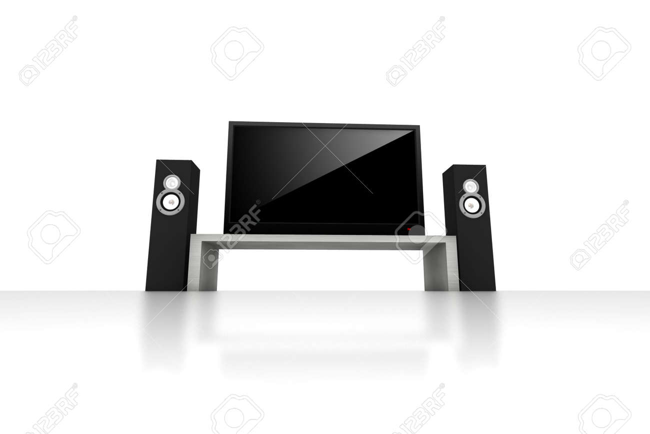 home theater / high definition television with speakers - isolated 3d render Stock Photo - 3663010