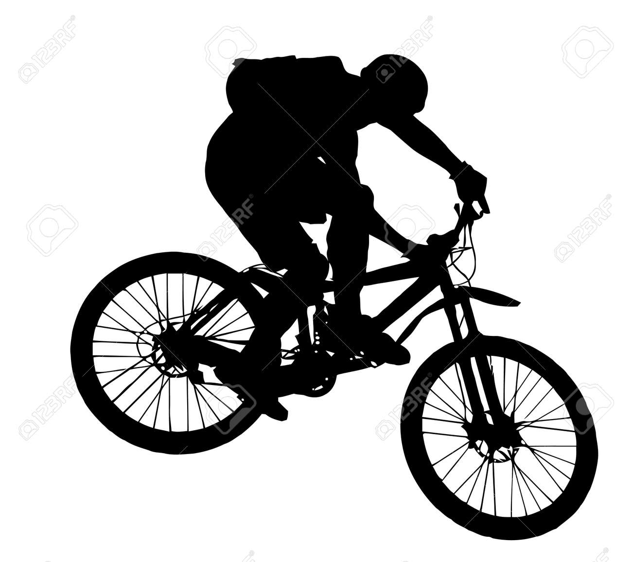 Vector Jump With A Mountain Bike Silhouette Royalty Free