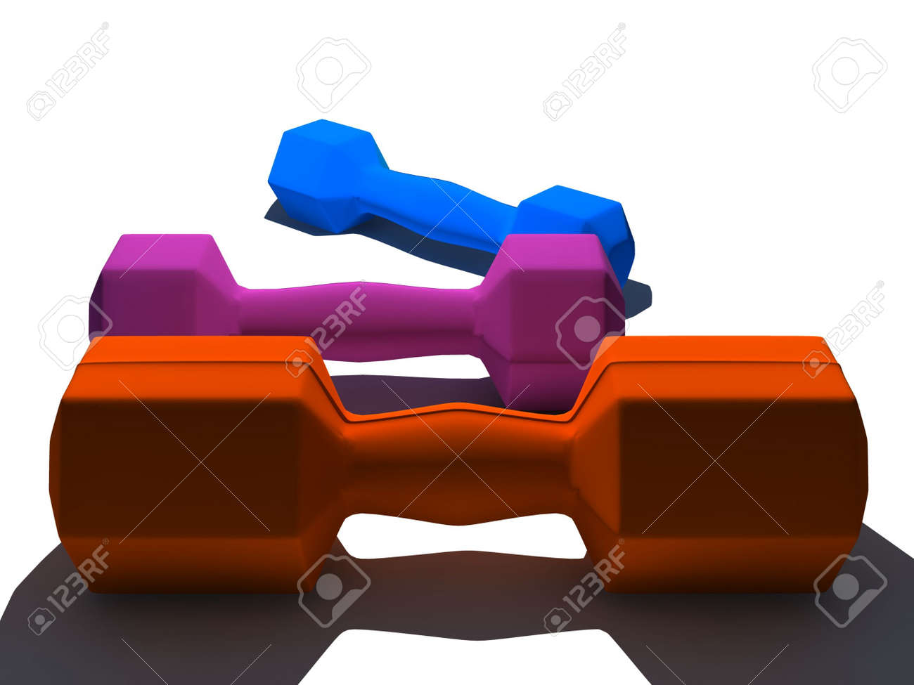 isolated multicolor dumbbells on white background - 3d render Stock Photo - 5416313