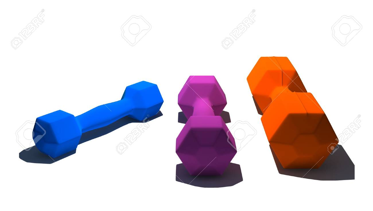 isolated multicolor dumbbells on white background - 3d render Stock Photo - 5615404
