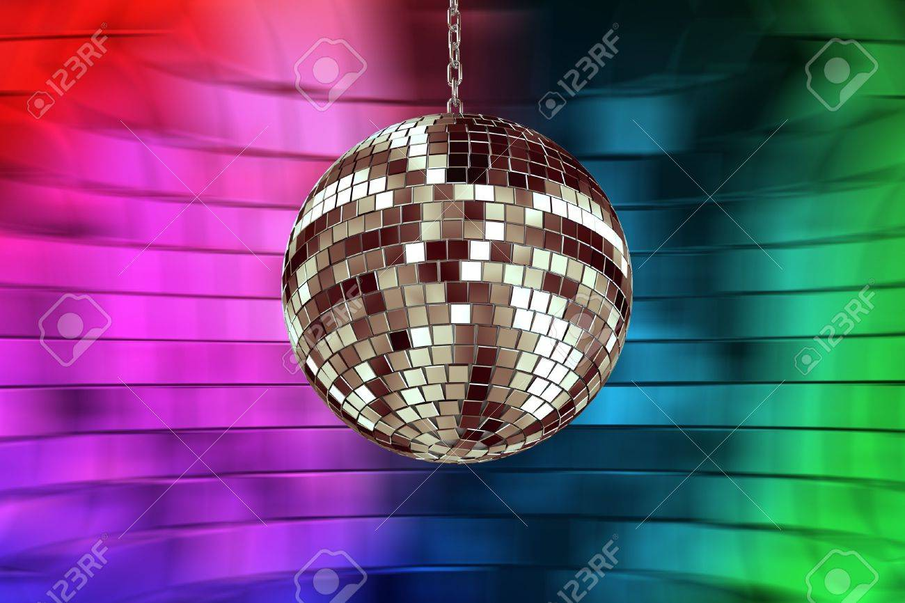 disco ball with lights - retro party background Stock Photo - 5615402