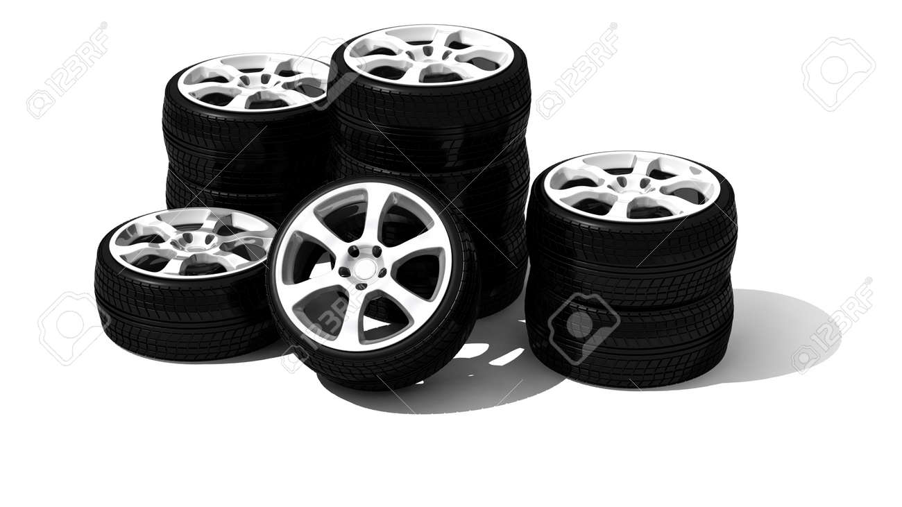 new wheels with steel rim - isolated 3d render on white Stock Photo - 5663478