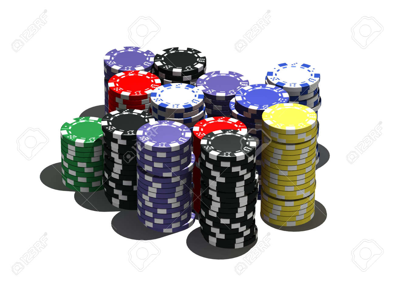 multicolor poker chips - isolated on white Stock Photo - 6017481