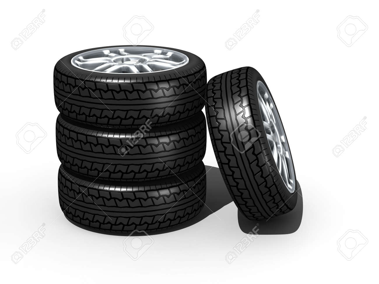 new wheels with steel rim - isolated 3d render on white Stock Photo - 6017484