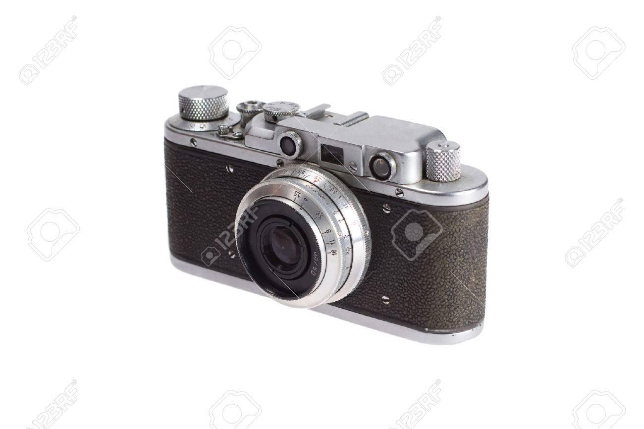 Retro vintage entfernungsmesser kamera auf weißem hintergrund