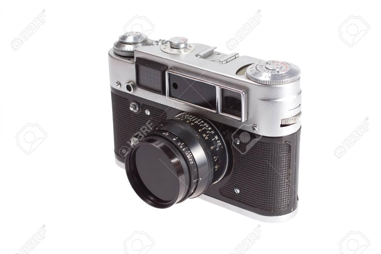 Alten vintage entfernungsmesser kamera auf weißem hintergrund