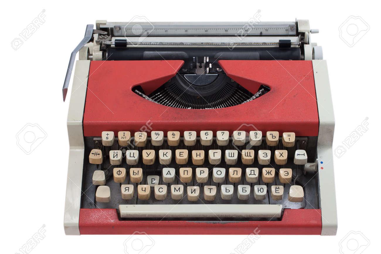 Retro typewriter with cyrillic keyboard layout isolated on white background Stock Photo - 19956540