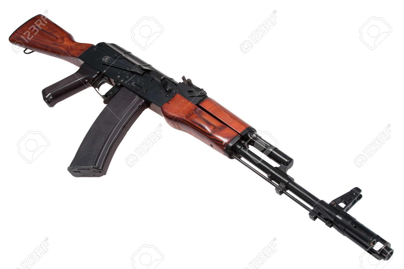 kalashnikov rifle ak74n isolated on a white background