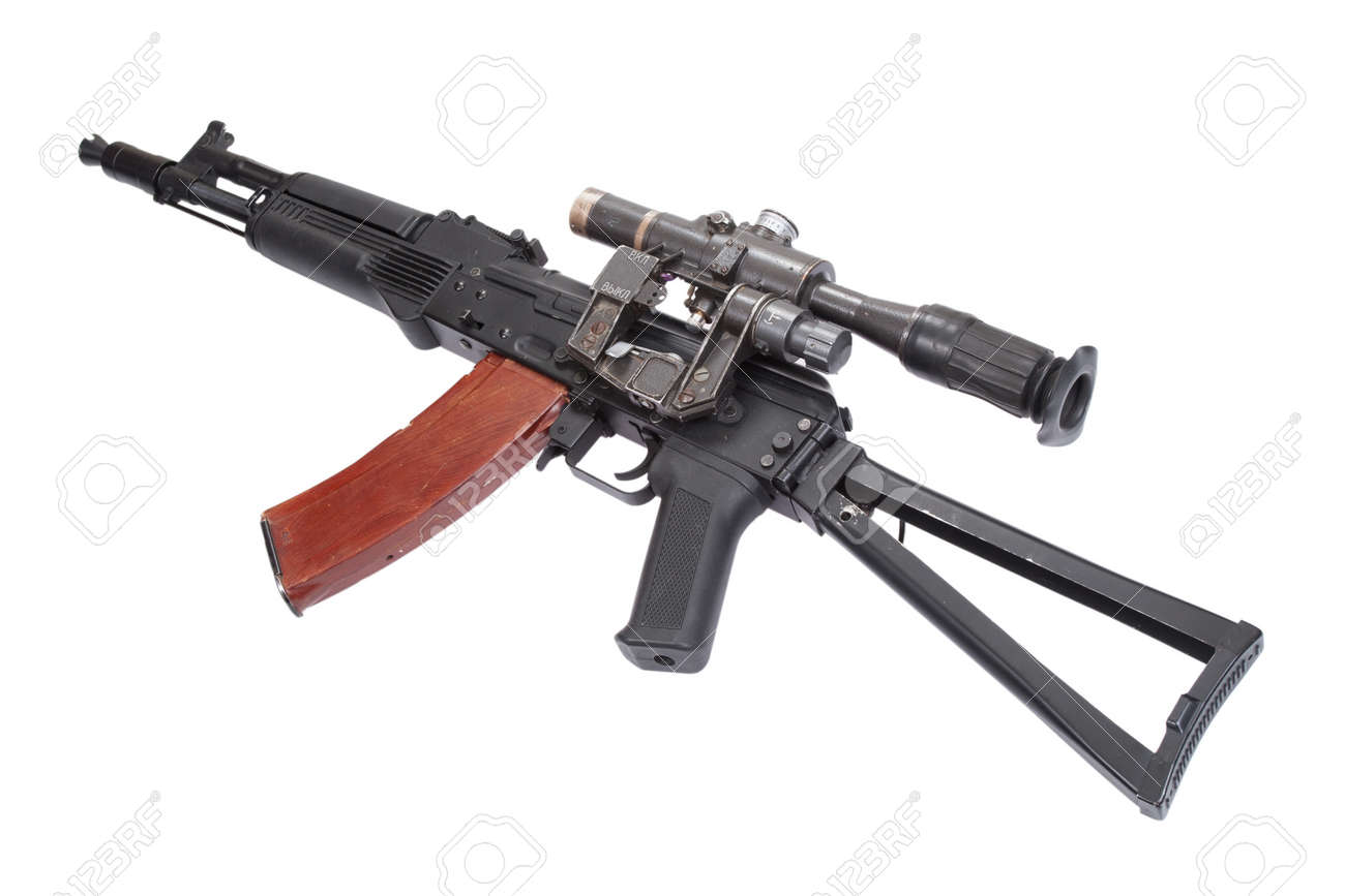 Ak 105 kalashnikov ak105 modern assault rifle with optical sight on.. stock