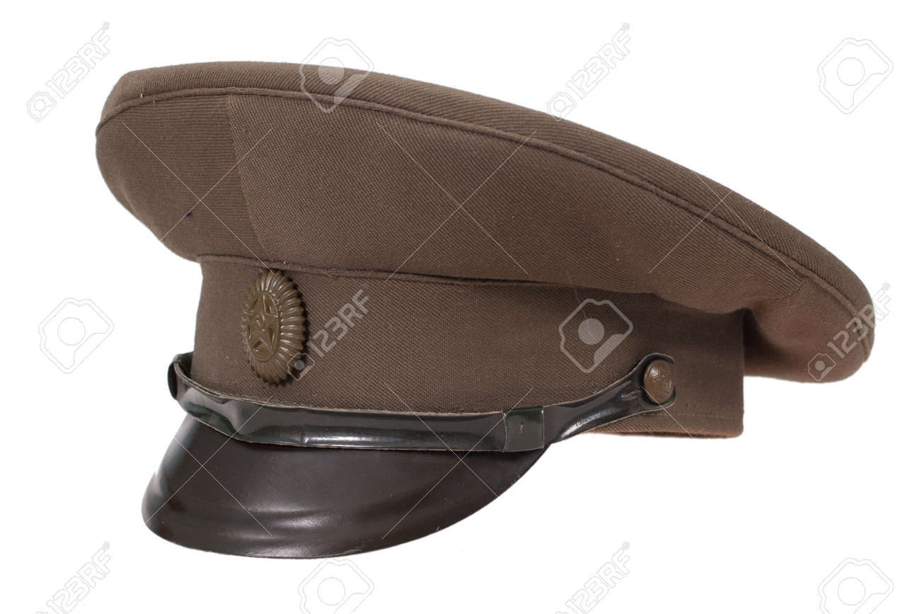 544907874 soviet army officer's field cap isolated on white background