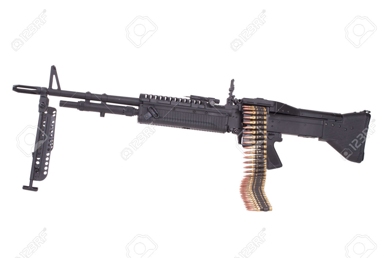 m60 machine gun with ammo belt isolated on white stock photo