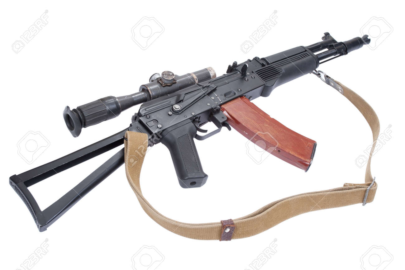 Ak 105 modern assault rifle ak105 with optical sight on white stock photo