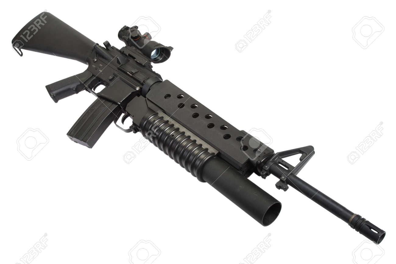 m203 グレネードランチャーと m16 ライフル ロイヤリティーフリーフォト