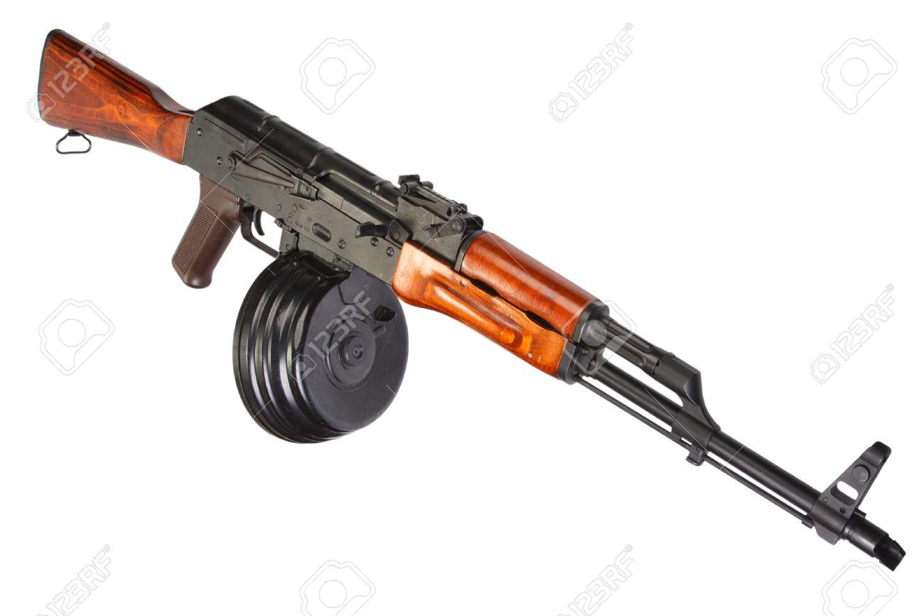 AKM Kalashnikov assault rifle with 75 Round Drum Magazine isolated Stock  Photo - 43638039