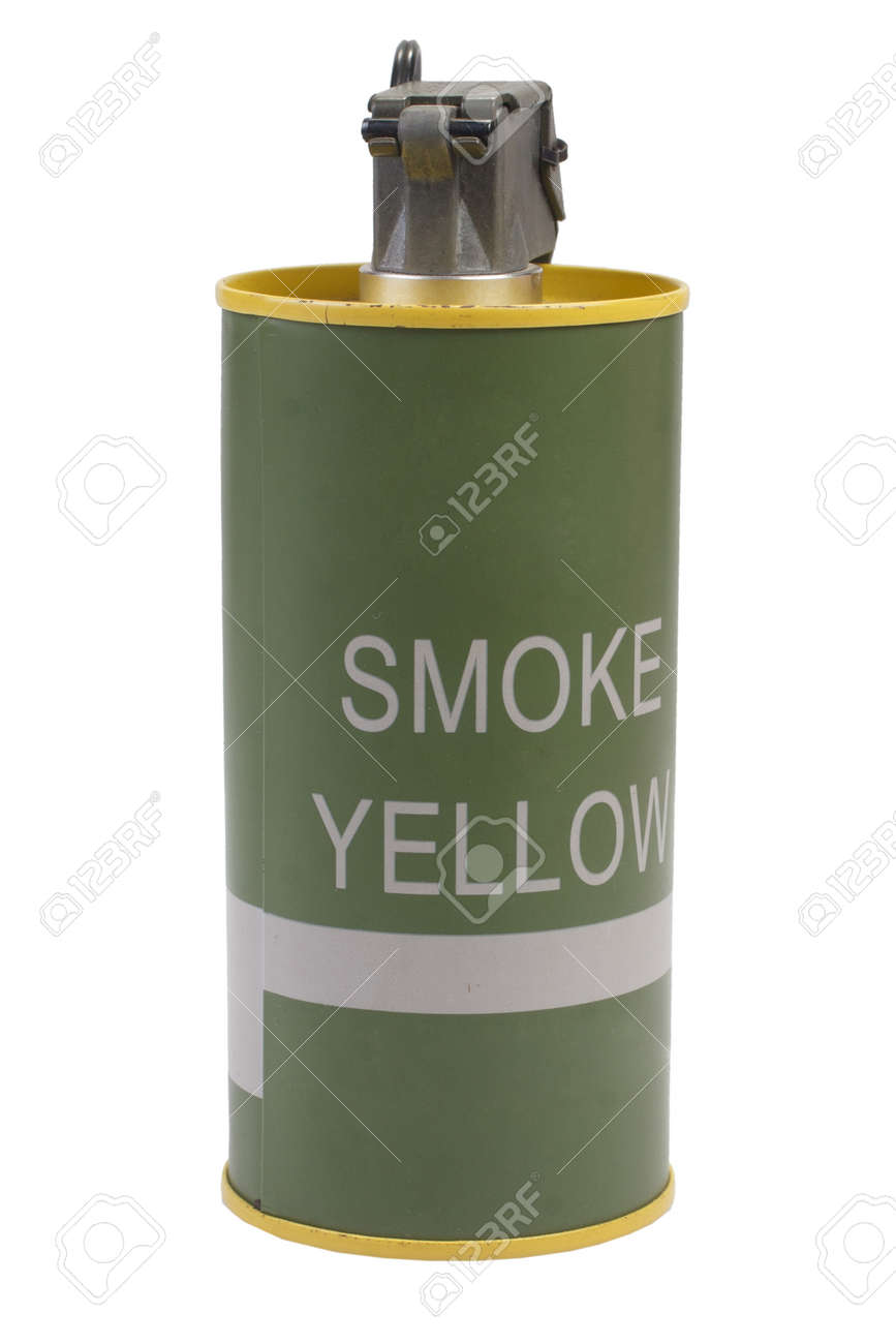 M18 Yellow Smoke Grenade isolated