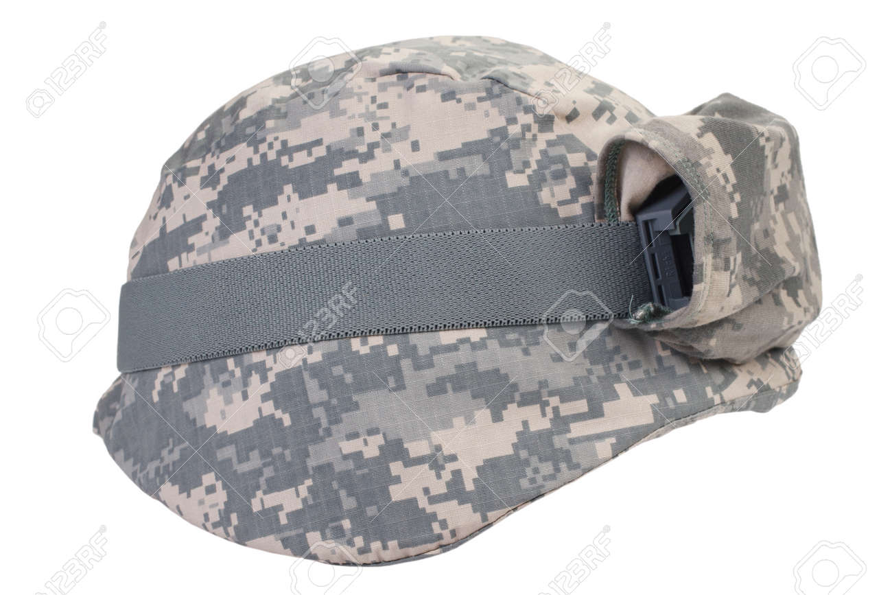 723669d8cd19fb helmet with a camouflage cover and protective goggles isolated on white  background Stock Photo - 43817251