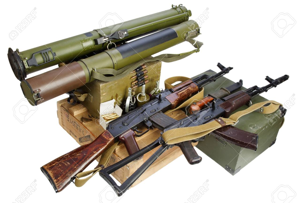 army box of ammunition with AK47 rifle and ammunition isolated