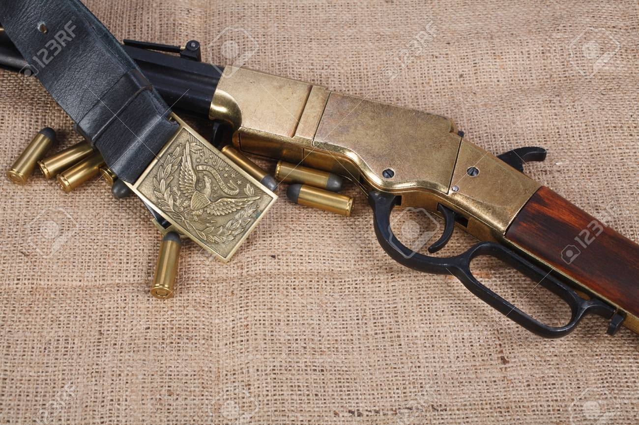 Civil War period repeating rifle isolated