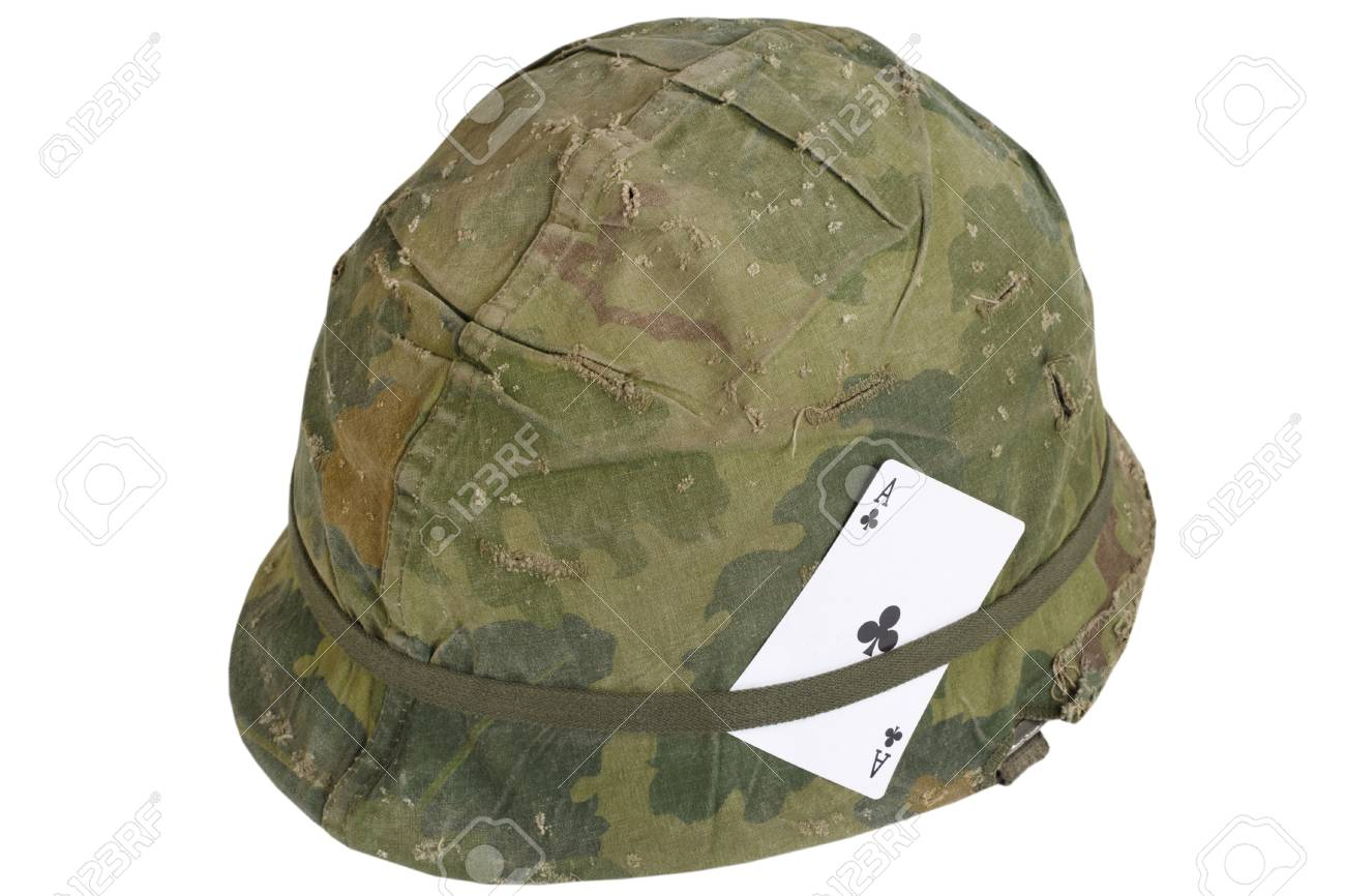 Us Army Helmet Vietnam War Period With Amulet Ace Of Clubs Stock Photo Picture And Royalty Free Image Image 105664936