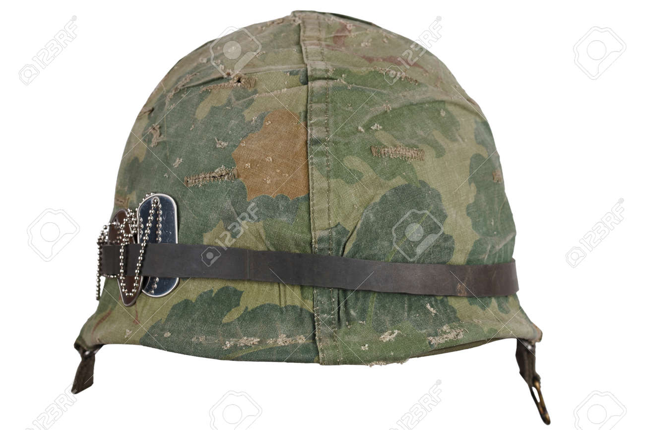 Us Army Helmet Vietnam War Period With Camouflage Cover Goggles Stock Photo Picture And Royalty Free Image Image 123857447