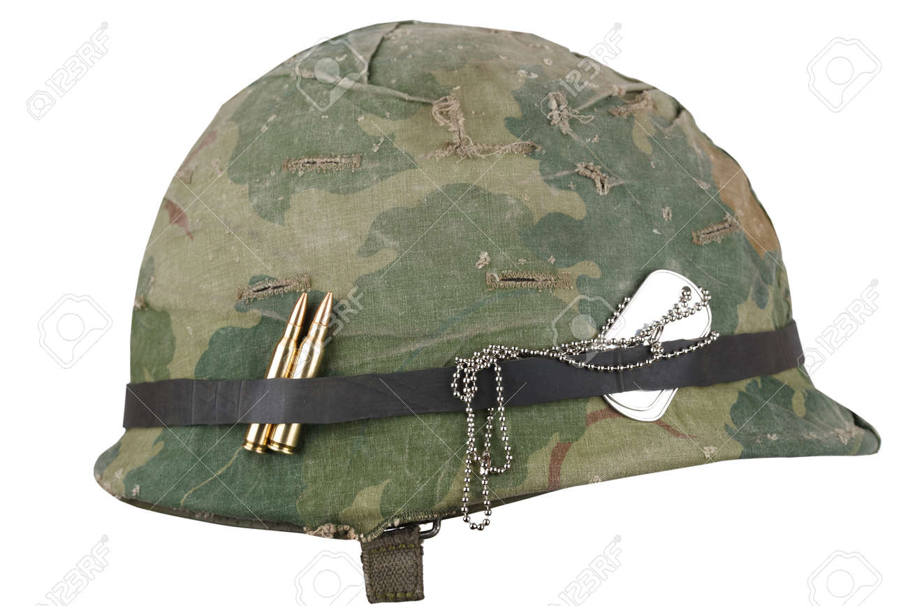 Us Army Helmet Vietnam War Period With Camouflage Cover Goggles Stock Photo Picture And Royalty Free Image Image 123858446